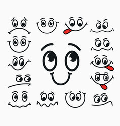 Cartoon facial expression of joy of sadness vector