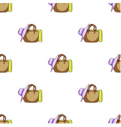 Beach bag with hatsummer rest single icon in vector