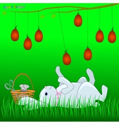 Bunny plays with easter eggs vector