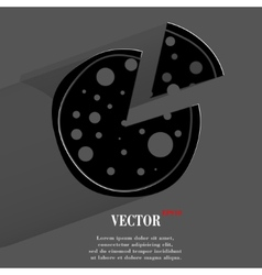 Pizza flat modern web button with long shadow and vector