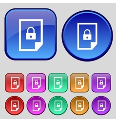 File locked icon sign set of coloured buttons vector