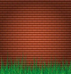 Bricks walls background with grass vector