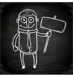 Man with a Sign Drawing on Chalk Board vector image