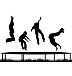 Children silhouettes jumping on garden trampoline vector image