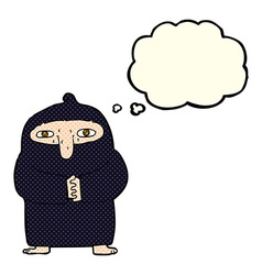 Cartoon monk in robe with thought bubble vector