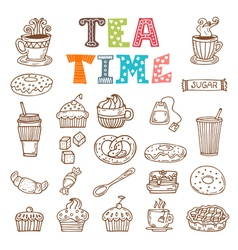 Tea time hand drawn tea and desserts vector