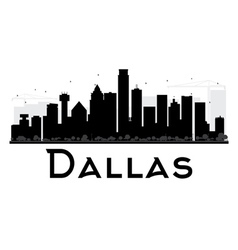 Dallas City skyline black and white silhouette vector image