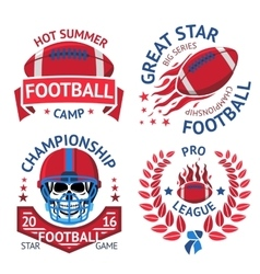 Set of american football labels with burning ball vector