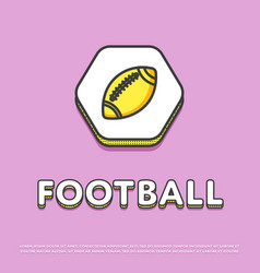 american football colour icon with ball vector image
