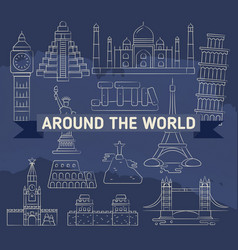 around the world linear icons - famous landmarks vector image