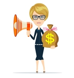 Businesswoman showing megaphone and bag of money vector