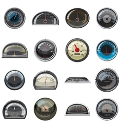 Car speedometers set realistic style vector image