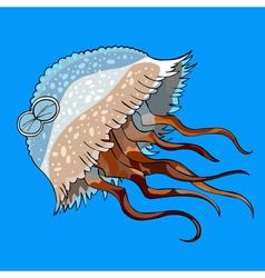 cartoon jellyfish swimming vector image vector image