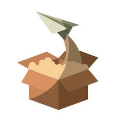 Colorful silhouette of cardboard box and paper vector
