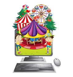 Computer screen with children at carnival vector