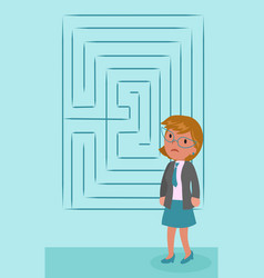 confused businesswoman with labyrinth vector image vector image