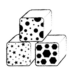 Cubes blocks toy icon vector