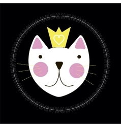 Cute hand drawn cat with crown background vector