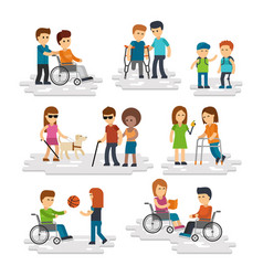 disability person flat young disabled vector image