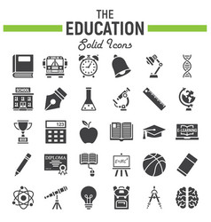 education solid icon set school sign collection vector image vector image