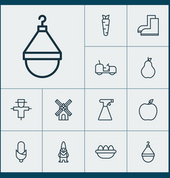Farm icons set collection of ovum sprinkler vector
