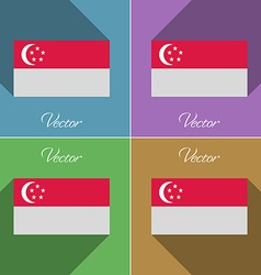 Flags singapore set of colors flat design and long vector
