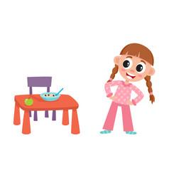 Flat girl are going to eat apple porridge vector