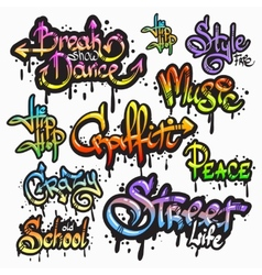 Graffiti word set vector image
