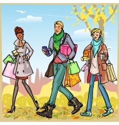 Happy people with shopping bags vector