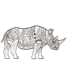 Hippopotamus coloring book for adults vector