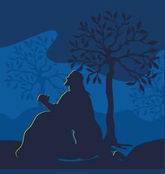 Jesus christ prays in the garden of gethsemane vector