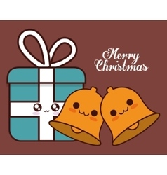 Kawaii bell and gift of christmas season vector