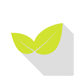 Leaf sign pear icon with flat style vector