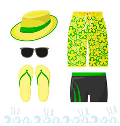 male beach outfit clothing and accessories at sea vector image vector image