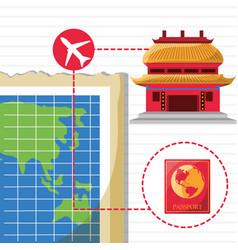 Map and chinese architecture with icons travel vector