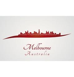 Melbourne skyline in red vector