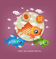 mid autumn lotus lantern festival background with vector image vector image
