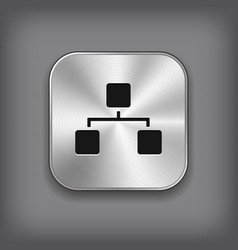 Network icon - metal app button vector