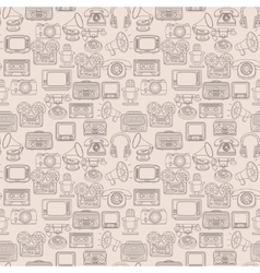 Retro media seamless pattern vector image vector image