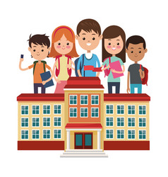 School building different students white vector