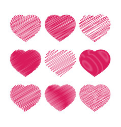 set of red hearts isolated on a white background vector image