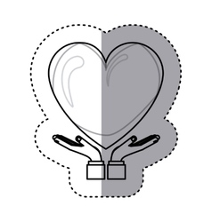Sticker contour of hands holding a big heart with vector