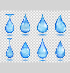 Transparent blue drops vector