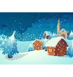 Village in the night vector image