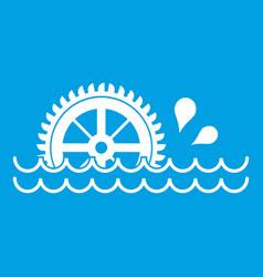 Waterwheel icon white vector
