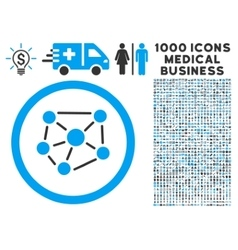 Social Graph Rounded Icon With Medical Bonus vector image