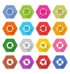 Flat arrow reload icon hexagon web button vector