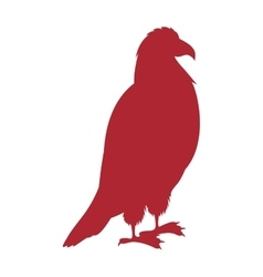 red silhouette eagle standing icon vector image