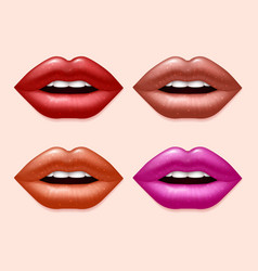 Girl lips with varicolored lipstick set vector