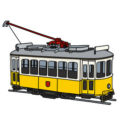 Vintage yellow tramway vector
